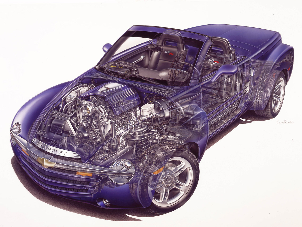 2003 Chevy SSR Signature Series Cutaway Illustration. X03CT_SR078